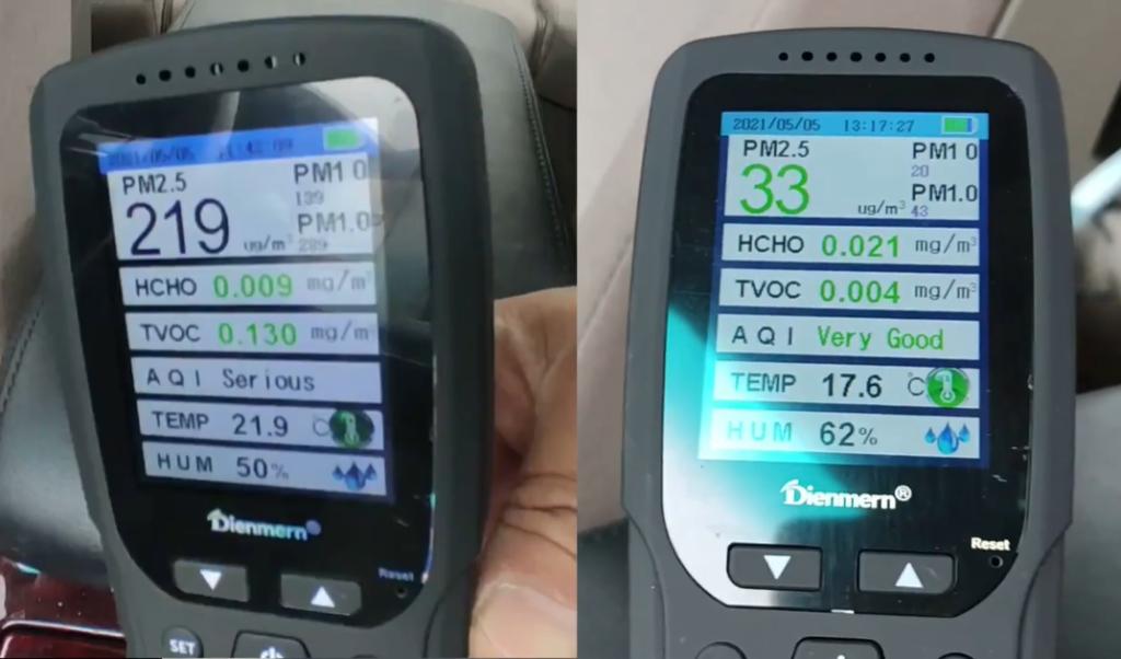 大気汚染測定器の数値。左がオゾン発生器使用前で左が使用後
