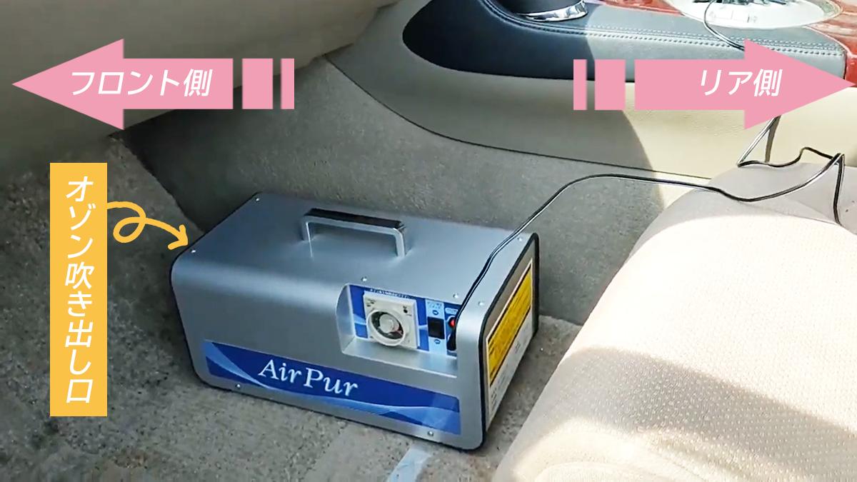 オゾン発生器の車内設置説明図「オゾン吹き出し口は車のフロント側へ向ける」